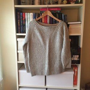 NWOT AEO Gray Off Shoulder Sweater
